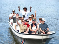 Group in a boat on trip