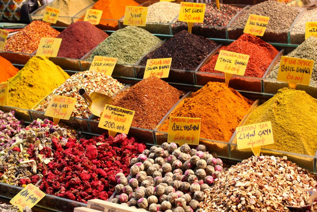 Various spices from around the world at a market
