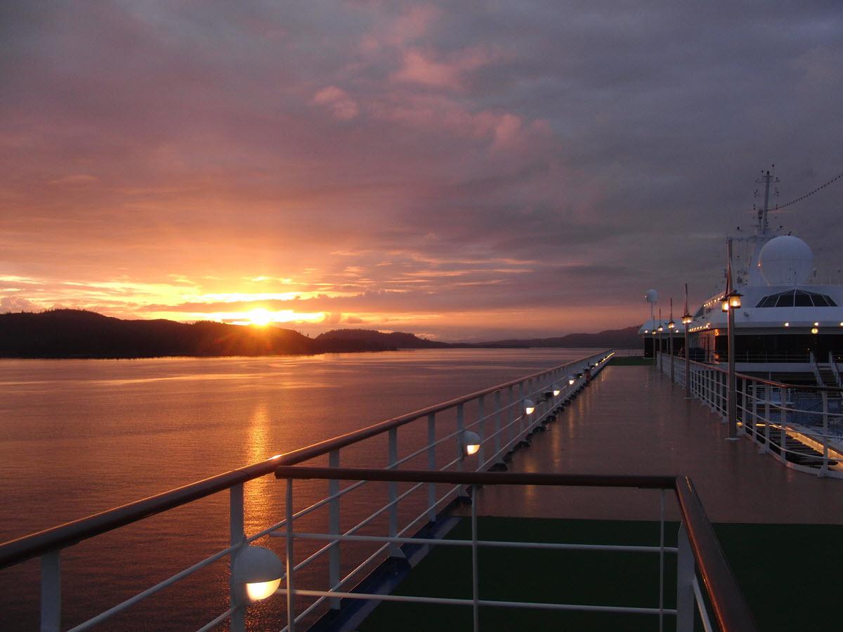 Cruise ship docked in Alaska