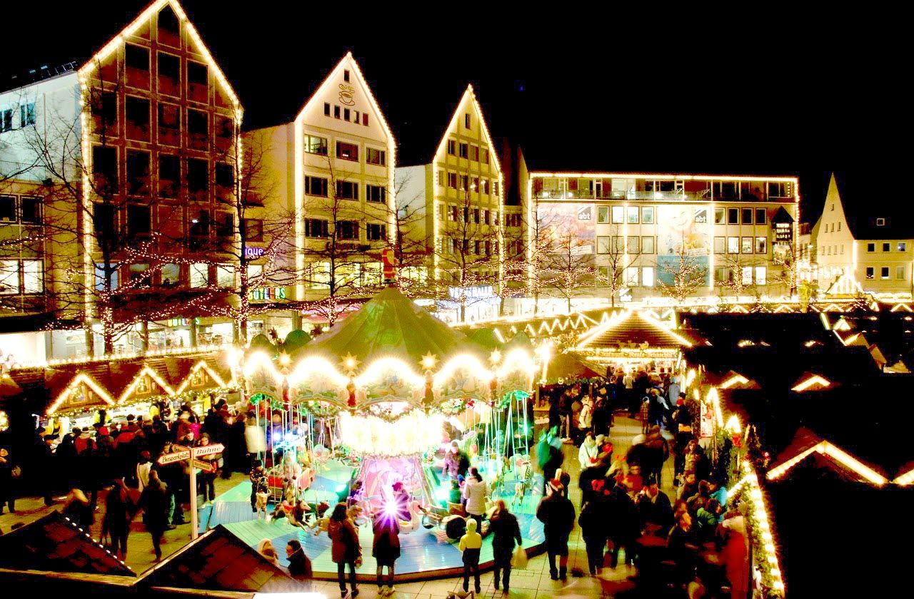 Christmas marketing in Ulm, Germany; travel to Germany; holiday travel