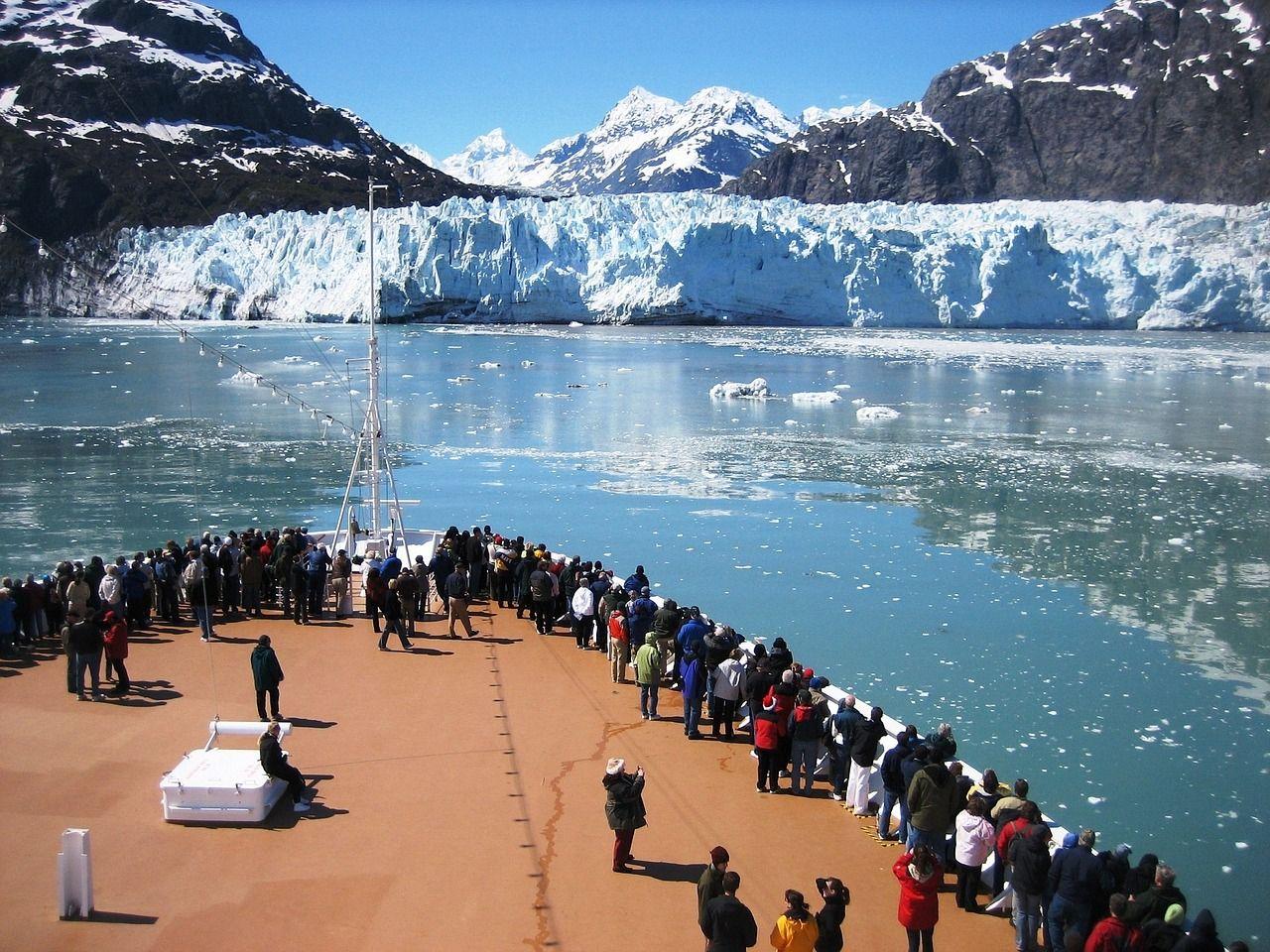 View of Alaskan glacier from cruise ship; cruise in Alaska