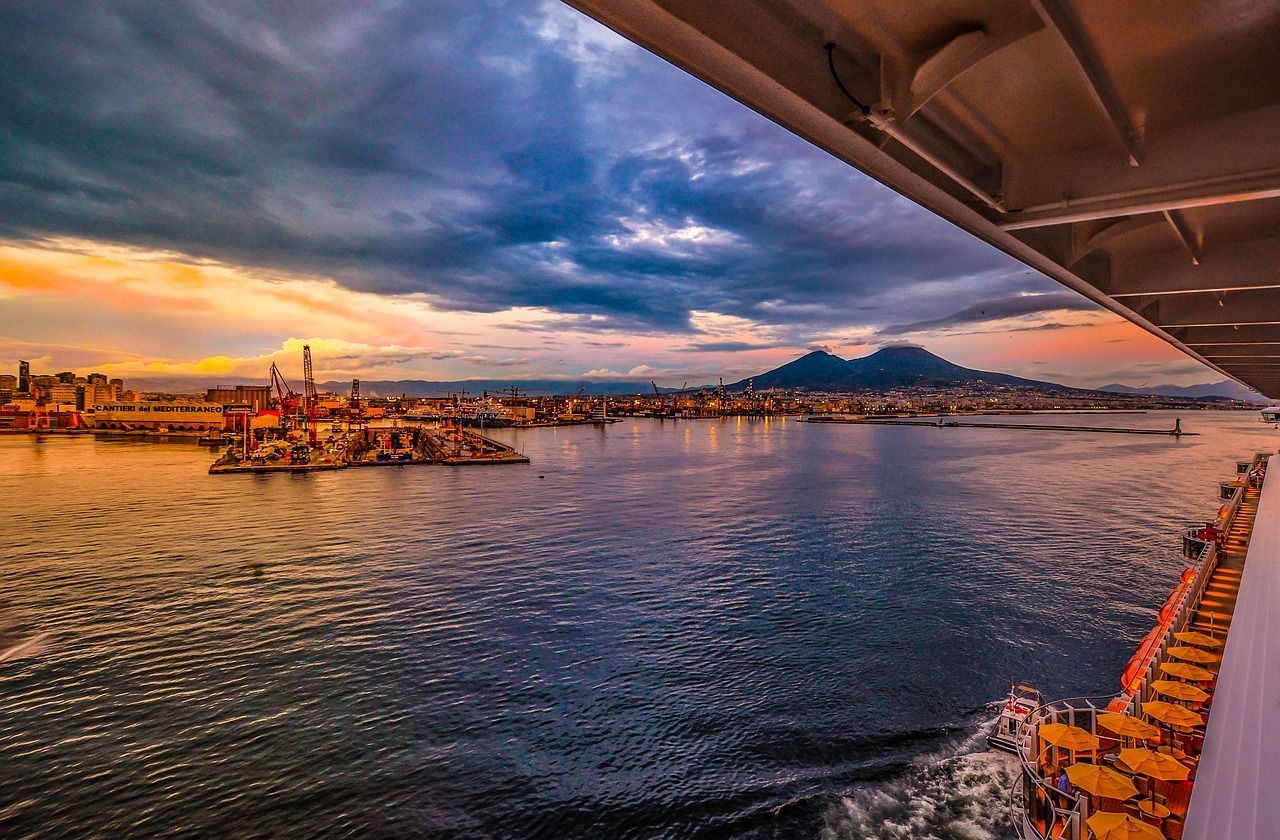View of Mt. Vesuvius from a cruise ship